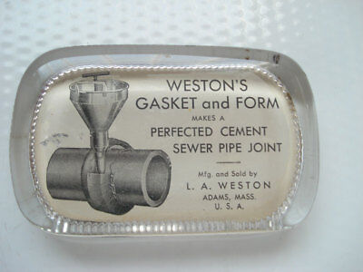 Paperweight ~ Weston's Gasket & Form Cement Sewer Pipe ~ Adams Massachusetts
