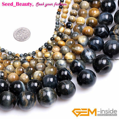 Natural AAA Round Dream Lace Gold Blue Tiger's Eye Beads Jewelry Making 15''
