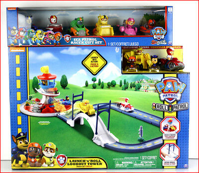 LOT 2 - Paw Patrol LAUNCH n Roll LOOKOUT TOWER Track Set + 8 Racer Cars + 2 Pups
