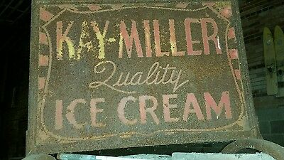 Antique metal Miller QUALITY ICE CREAM sign double  sided super rare AS Is!!!!!!