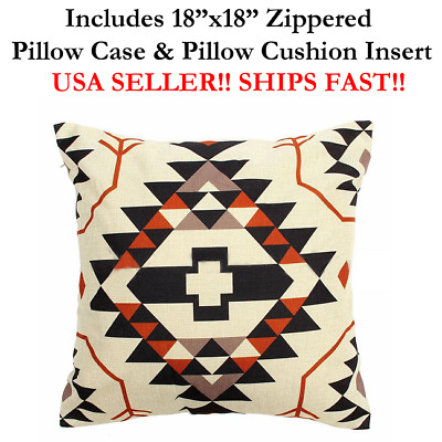 """18x18 18"""" Ethnic Culture AZTEC Mexico Mexican Zippered Throw Pillow Cushion"""