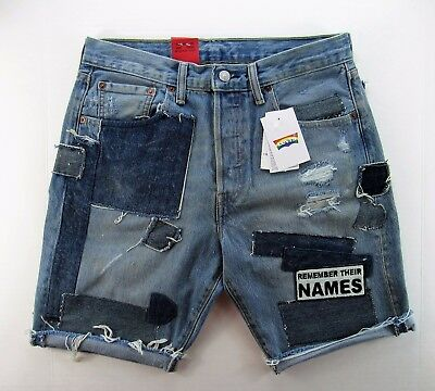 Levi's Pride Collection Unisex 501 Ct Denim Shorts Aids Remember Their Names 30