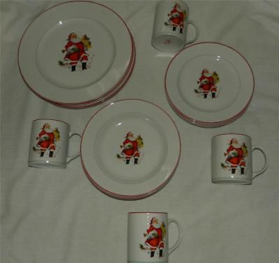 16 pc All the Trimmings Santa Claus Christmas 4 Dinner Place Settings Free Ship