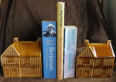 Pair vintage cottage / Tudor style house moneyboxes / bookends, Holkham England