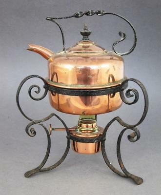 FINE ANTIQUE ARTS & CRAFTS COPPER & WROUGHT IRON KETTLE & STAND 1880 tea pot set