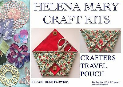 Helena Mary Crafters Travel Pouch Kit Complete Kit - Blue/Red Flowers