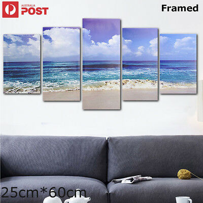 5Pcs Framed Sea Beach Modern Canvas Print Art Painting Home Decor Wall Picture