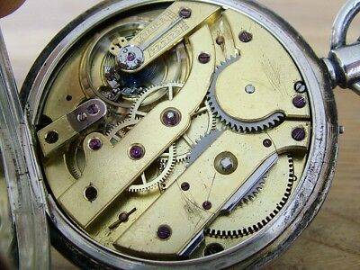 Unusual Movement Antique Gents Hm1894 Solid Silver Pocket Watch Working No Res