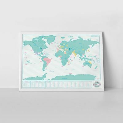 Scratch Map Hello Edition by Luckies Scratch Off Of The World Wall Poster