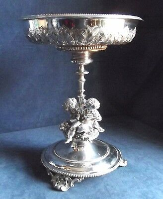 SUPERB Large & Heavy ~ SILVER Plated ~ Cast CHERUBS ~ Tazza CENTERPIECE ~ c1870