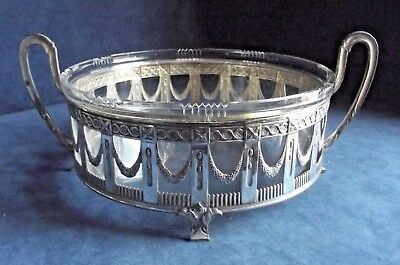 "SUPERB Large 13"" ~ French EMPIRE Style ~ SILVER Plate & GLASS ~ BOWL ~ c1890"