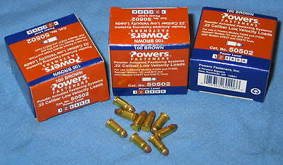 3 Boxes of 100 Brown #2 POWERS #50502 .22 Cal Low Velocity Powder Fasteners