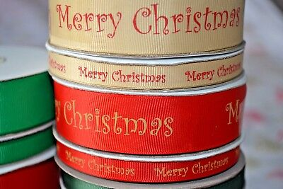 MERRY CHRISTMAS Red & Gold ribbon craft sewing scrapbooking present FULL REELS