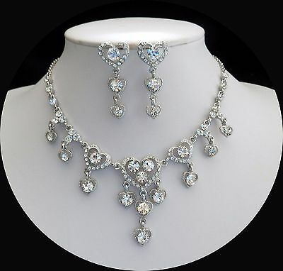 """""""HEART"""" Necklace/Earrings Set, Clear Crystals Wedding Jewelry Bridal Set N3011"""