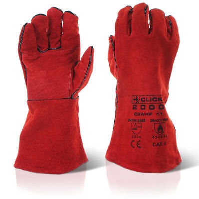 "60 x Pairs 14"" CAT 2 Fully Lined Reinforced Red Welders Welding Gauntlet Gloves"