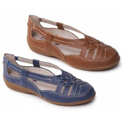 7c9281a617d Padders DELTA Ladies Womens Leather Extra Wide (2E) Fit Slip On Summer Shoes