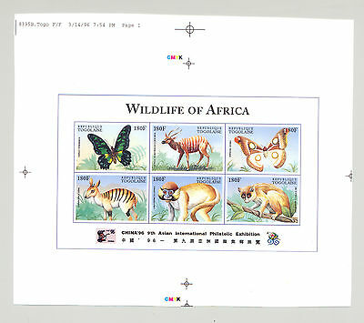 Togo #1688 Wildlife of Africa, Butterflies 1v M/S of 6 Imperf Chromalin Proof