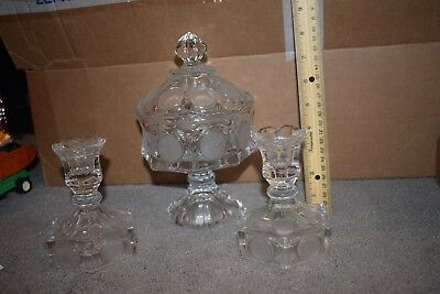 VINTAGE FOSTORIA COIN DOT 3 PIECE SET Covered Candy & Candlesticks CRYSTAL CLEAR