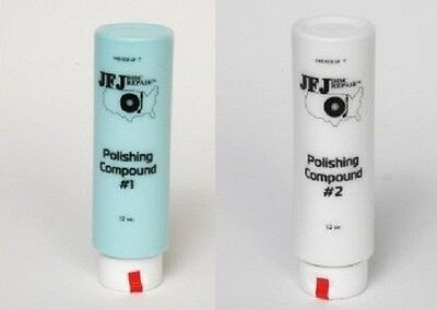 4 Buffing pads +  One 12oz White # 2 & One 12 oz Blue # 1 Polish  JFJ EASY PRO