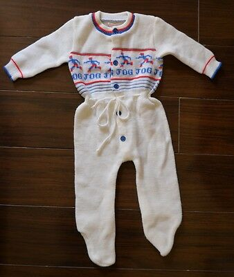 Vintage Acrylic Childwise Sixties Jog theme Baby Romper Onepiece  0-12 months