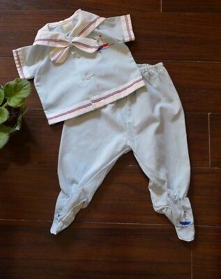 Vintage Two Piece Baby Boy Outfit with Sailboats Nautical 3-6 months