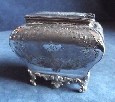 SMART Ornate ~ SILVER Plated ~ ENGRAVED Tea CADDY ~ c1910