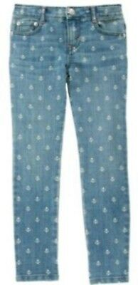 NWT Gymboree Girls Stripes and Anchors Jeans w/ Anchor Print Adj Waist Size 6
