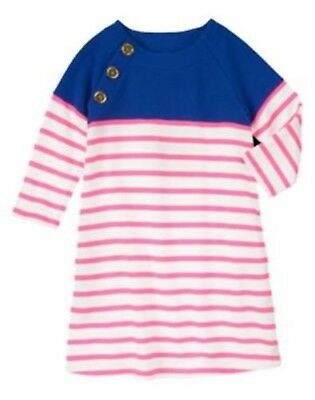 NWT Gymboree Girls Stripes and Anchors Blue & Neon Pink Stripe Dress Size 5 & 6