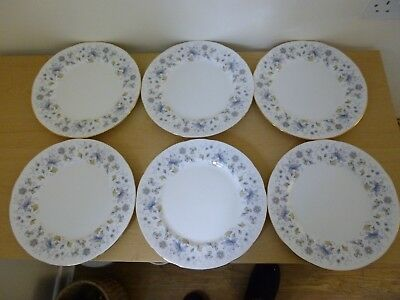 6 Colclough China Rhapsody in Blue Dinner Plates