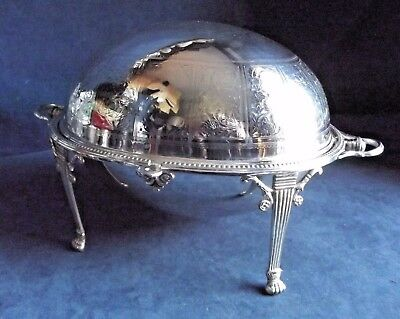 "SUPERB Large 14"" ~ SILVER Plated ~ ROLLOVER Serving DISH ~ c1890"