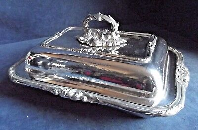 "SUPERB Large 12"" ~ SILVER Plated ~ Ornate SERVING DISH ~ c1900"
