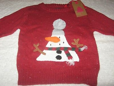 CHRISTMAS JUMPER *BNWT* Next 9-12-18 months New Red Snowman Baby Boys Xmas Top