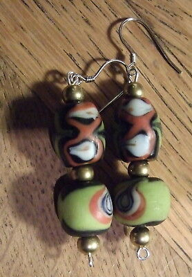 GENUINE BEAUTIFUL ANCIENT GLASS BEAD EARRINGS (Afghanistan) new silver earwires