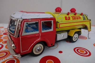 1960s Vintage Red China MF 963 OIL TANKER TRUCK ,20cm Tin Toy Car Friction
