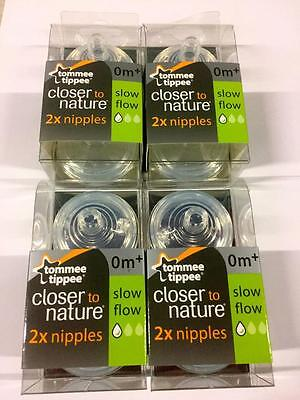 Tommee Tippee Closer To Nature Slow Flow Nipples~8 count ~ 0m+~BPA..FREE~NEW.