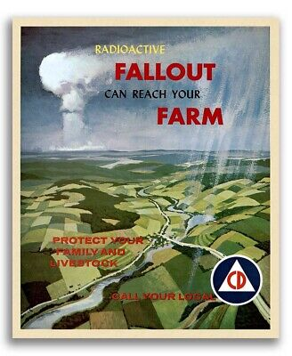 1960s Civil Defense Poster - Radioactive Fallout Can Reach Your Farm  - 16x20