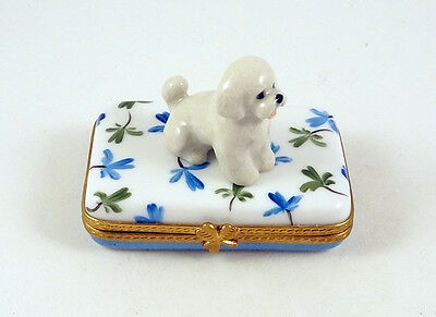 New French Limoges Trinket Box Cute Bichon Frise Dog Puppy On Clover Leaves