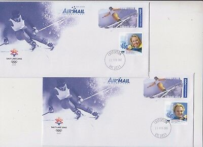 Stamp Australia 2002 Salt lake Olympic Games aerogramme pair ski medal winner