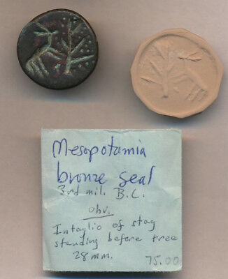 STAG & TREE BRONZE SEAL (MESOPOTAMIA 3rd CENT BC) EX-OLD USA COLLECTION > NO RSV