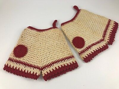 "Pair Of Vintage Hand Crochet Red & Off White ""Shorts"" Potholders For Display"