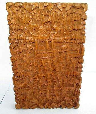 Fine & Scarce Late 19Th Century Chinese Canton Hand-Carved Wooden Card Case