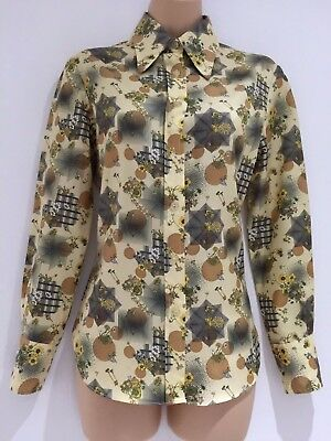 Vintage 70's Beige Brown & Black Floral & Spot Print Long Sleeve Shirt 12-14