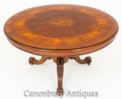 Victorian Walnut Centre Dining Table Floral Inlay