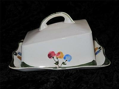 Vintage Swinnertons Ironstone Cheese Dish, Hand Painted Fruit Pattern