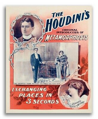 Houdini's Metamorphosis 1890s Vintage Trunk Escape Magic Poster - 16x20