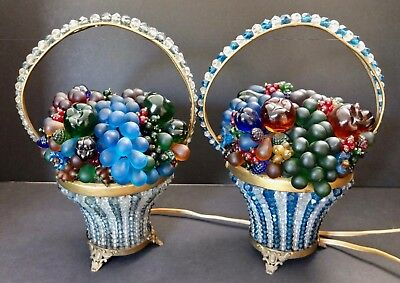 Pair Of Antique Czech Bohemian Beaded Glass Fruit Basket Vanity Lamps Circa 1920