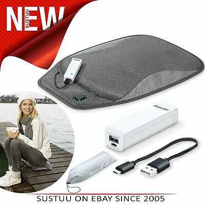 Beurer HK47 Mobile Heated Seat Pad With Powerbank│3 Heat│Charging Cable│Bag│New│