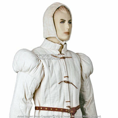 Ecru Large Gambeson Type7 Medieval Padded Armour Coat SCA WMA LARP Arming Jacket