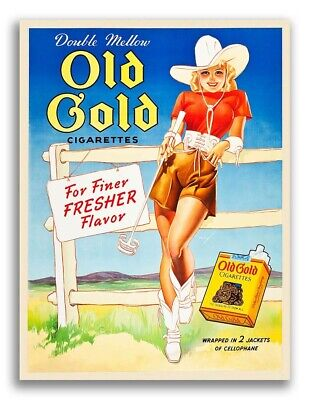 1930 Old Gold Cigarettes Vintage Style Cowgirl Poster - Petty Girl Pinup - 20x28