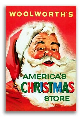 """1950s Woolworth's """"America's Christmas Store"""" Vintage Ad Poster Santa - 16x24"""